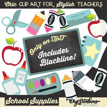 Cute School Supplies Clipart in Color plus Blackline