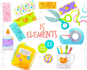 Cute School Supplies, Washi Tape clipart, for personal and commercial use