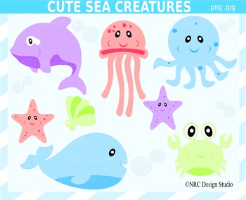 Sea creatures clipart commercial use