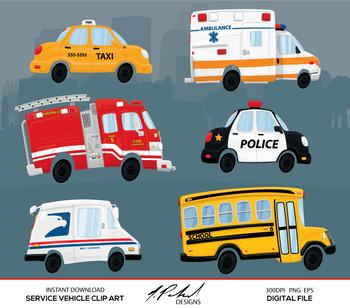 Cute Service Cars Digital Clip Art - Digital File - Cartoon Service Cars Clipart