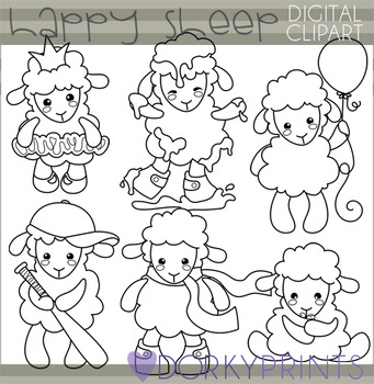 Cute Sheep Blackline Clipart