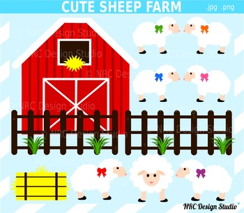 Cute Sheep Farm Clip Art for Personal and Commercial Use