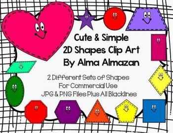 Cute & Simple 2D Shapes Clip Art by Alma Almazan