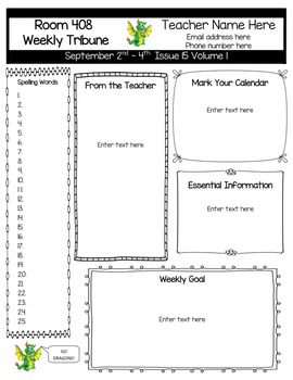 Easy to Edit Cute & Simple Classroom Newsletter