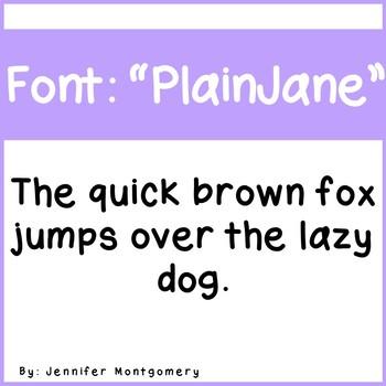 """Cute Simple Font- """"Plain Jane"""""""