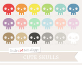 Cute Skull Clipart; Halloween, Bone, Skeleton