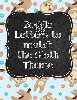 Cute Sloth Boggle Letters