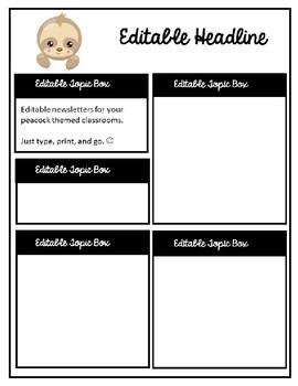Cute Sloth Editable Teacher Newsletter Template