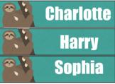 Cute Sloth Tray / Tub Name Labels **EDITABLE**