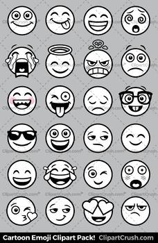 Cute Smiley Emoji Clipart Faces Vol.1 Fun Emojis Emotions Emoticons Expressions
