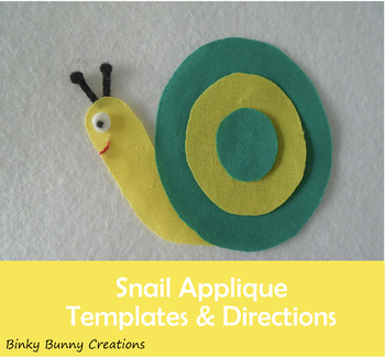 Cute Snail Applique Template Sewing Craft
