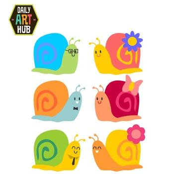 Cute Snails Clip Art - Great for Art Class Projects!