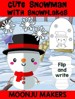 Cute Snowman with Snowflakes B - Moonju Makers Activity, Craft, Writing