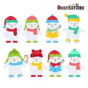 Cute Snowmen Clip Art - Great for Art Class Projects!