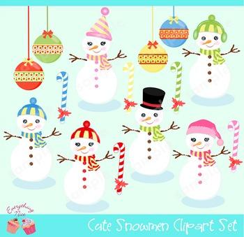 Cute Snowmen Snow Man Winter Christmas Ornaments Clipart Set