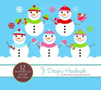 Cute Snowmen Digital Clipart