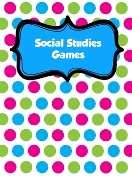 **Cute Social Studies Games Polka Dotted Binder Cover** FREEBIE!