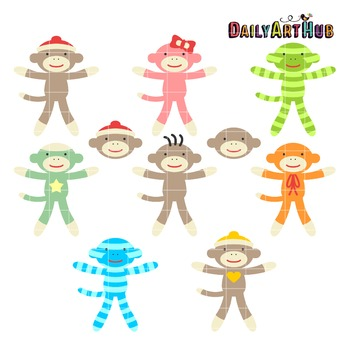 Cute Sock Monkey Clip Art - Great for Art Class Projects!