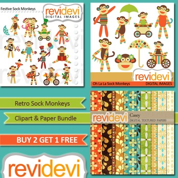 Cute Sock Monkey Clip art and Papers (3 packs)