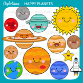 Solar System Clip Art, Happy Planets