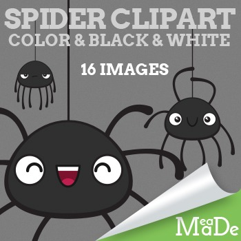 Cute Spider Clipart - Fall and Halloween Graphics