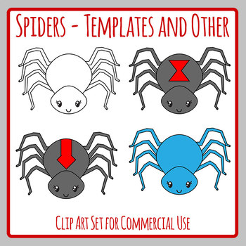 Cute Spiders Blank Template Clip Art Set for Commercial Use