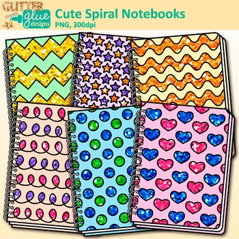 Cute Spiral Notebooks Clip Art {Back to School Supplies for Worksheets}