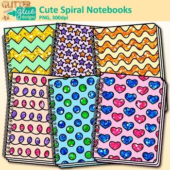 Cute Spiral Notebooks Clip Art {Back to School Supplies fo