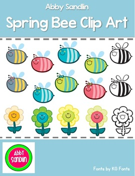 Cute Spring Bee and Flower Friends Clip Art - Commercial a