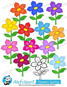 Cute Spring Flowers.Digital Clipart. Creative Clips. Instant Download