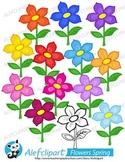 Cute Spring Flowers.Digital Clipart. Creative Clips. Insta