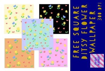 Cute Square Ditsy Flower Wallpaper Background