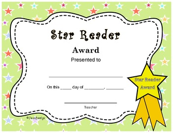 cute star reader award end of the year certificate pre k 3rd grade