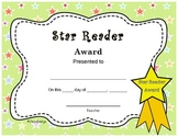 Cute Star Reader Award End Of The Year Certificate Pre K - 3rd Grade
