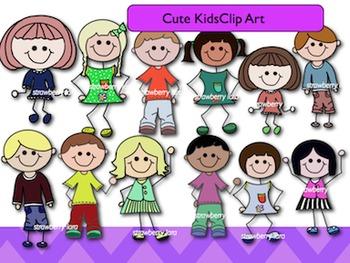 Cute Stick Kids Clip Art,