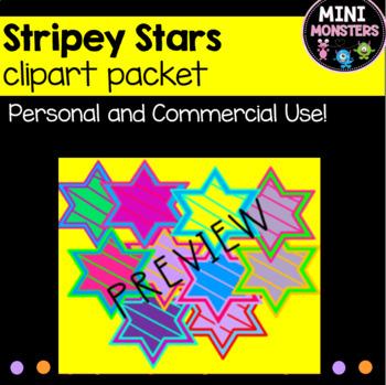 Cute Striped Stars Clipart Pack