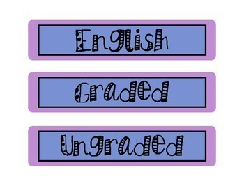 Cute Subject Labels Blue & Purple