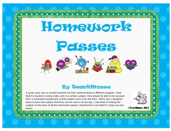 Cute Subject Specific Homework Passes