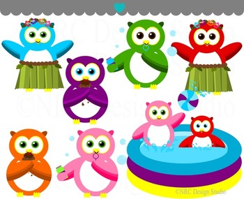 Summer owls pool clipart commercial use