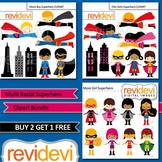 Cute Superhero Clip Art / Multi Racial Superheroes, boys and girls (3 packs)