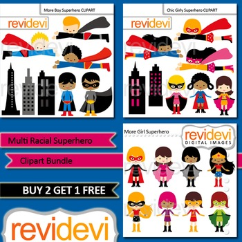 Cute Superhero Clip Art / Multi Racial Superheroes, boys and girls (3 packs)