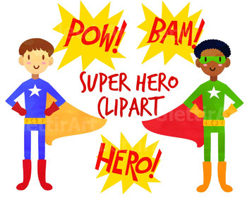 Cute Superhero Clipart, for personal and commercial use