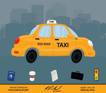 Cute Taxi Cab Digital Clip Art - Digital File - Taxi Clip Art