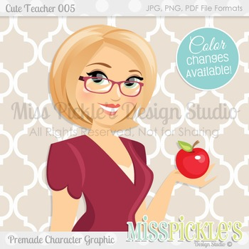 Cute Teacher 005- Premade Character Graphic