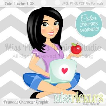 Cute Teacher 008, Teacher Avatar- Commercial Use Character Graphic