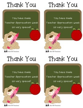 Cute Teacher Appreciation Week Note for Students/Parents