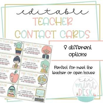Cute Teacher Contact Cards! Perfect for Meet the Teacher/ Open House!