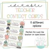 Cute Teacher Contact Cards! Perfect for Meet the Teacher/