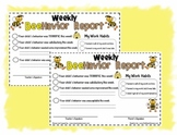Cute Teacher Friendly Weekly  Behavior Report - Bee Theme