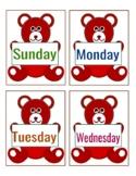 Cute Teddy Days of the Week Flashcards for Preschool